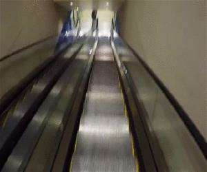 skiing down the escalator