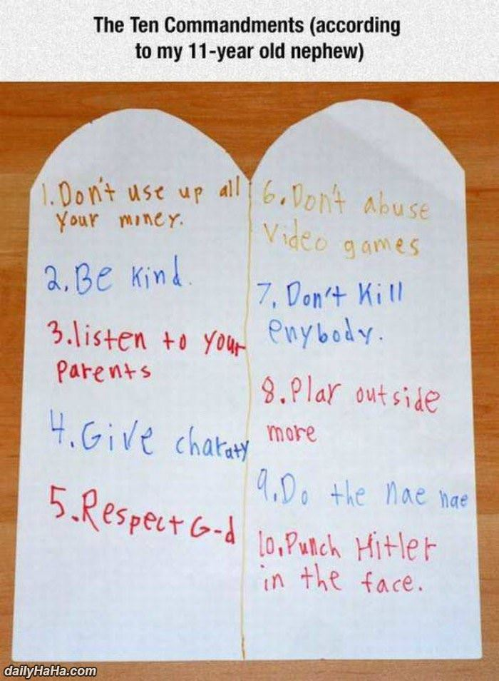 10 commandments to a 11 year old funny picture