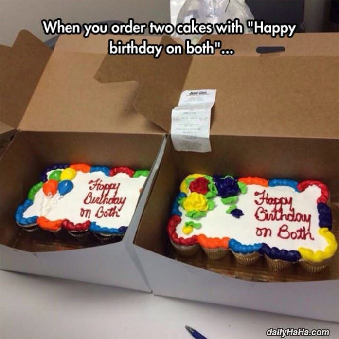 2 cakes with happy birthday funny picture