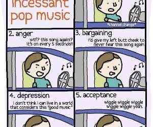 5 stages of pop music funny picture