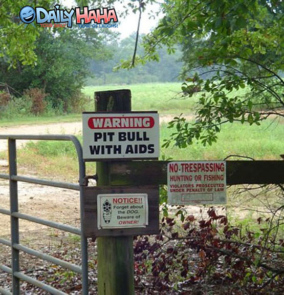 Pit Bull with AIDS sign