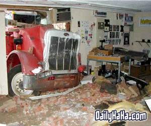 truck crashing