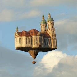 a flying castle balloon