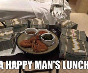 a happy mans lunch funny picture
