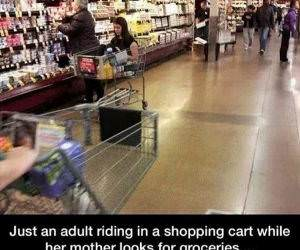 adult in a shopping cart funny picture