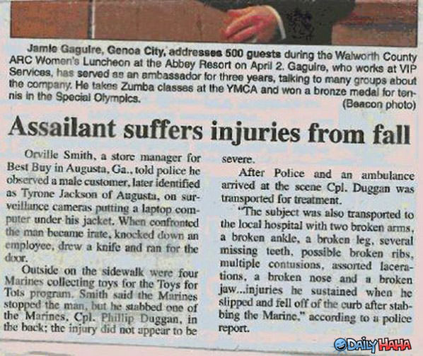 Assailant Suffers funny picture