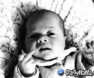 This baby says Screw you!