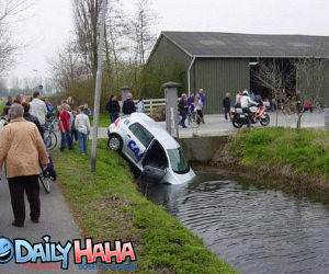 Car Stuck In Pond