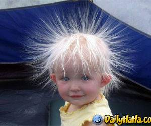 This kid appears to be having a bad hair day!