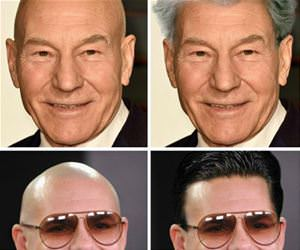 bald celebrities with fabulous hair funny picture