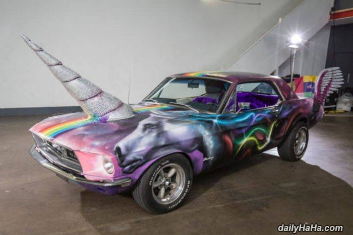 beautiful unicorn car funny picture