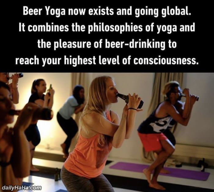 beer yoga funny picture