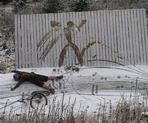 biking in the snow funny picture