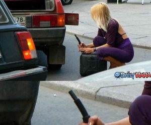 Blonde Gas Fill up funny picture