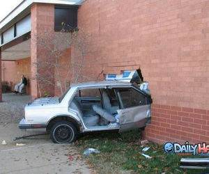 Car Crash into Brick Wall
