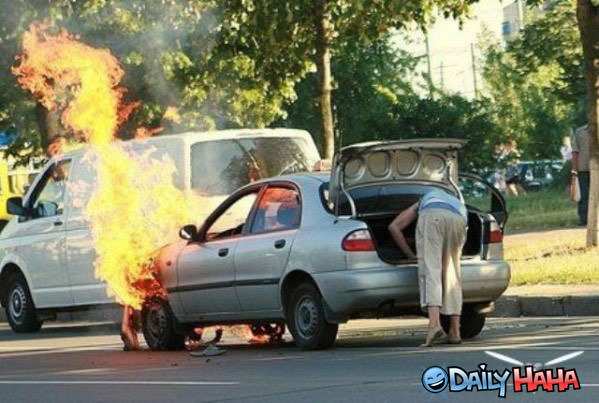 Car is on Fire - Funny pic