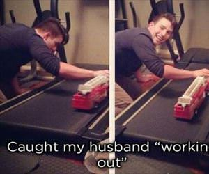 caught my husband working out