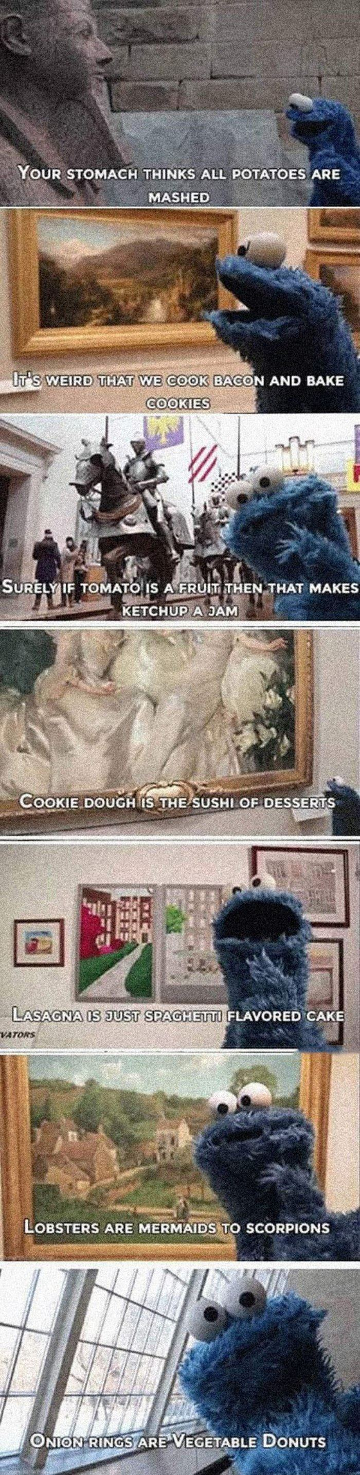 cookie monster thoughts funny picture