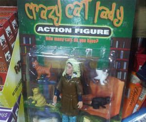 crazy cat lady action figure funny picture