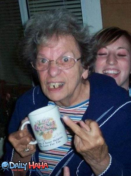 Grandmas middle finger