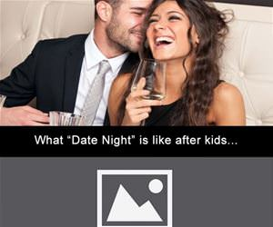 date night before and after kids funny picture