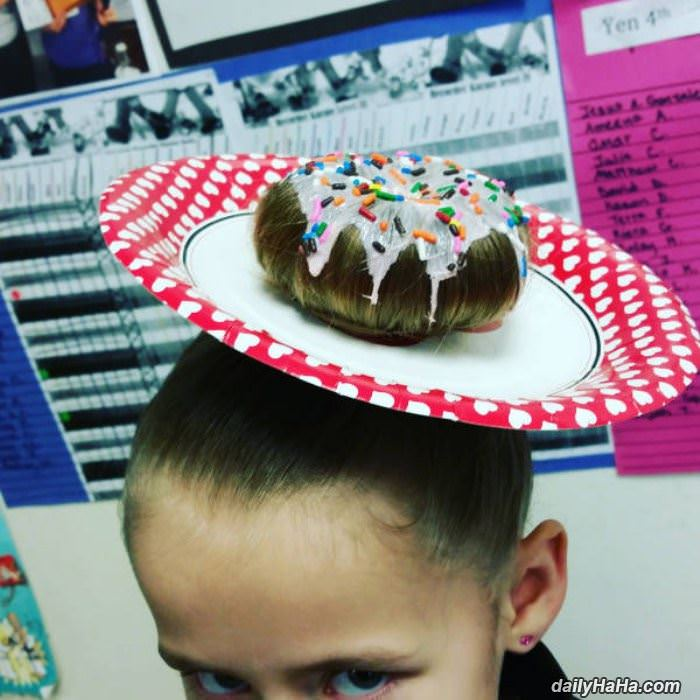 donut hair funny picture