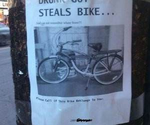 Drunk Guy Steals Bike funny picture