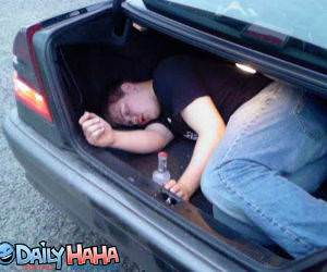Drunk sleeping in the Trunk