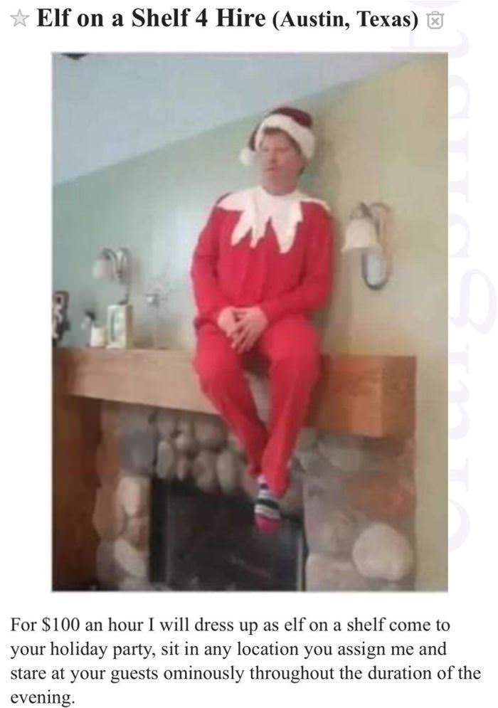 elf on a shelf for hire funny picture