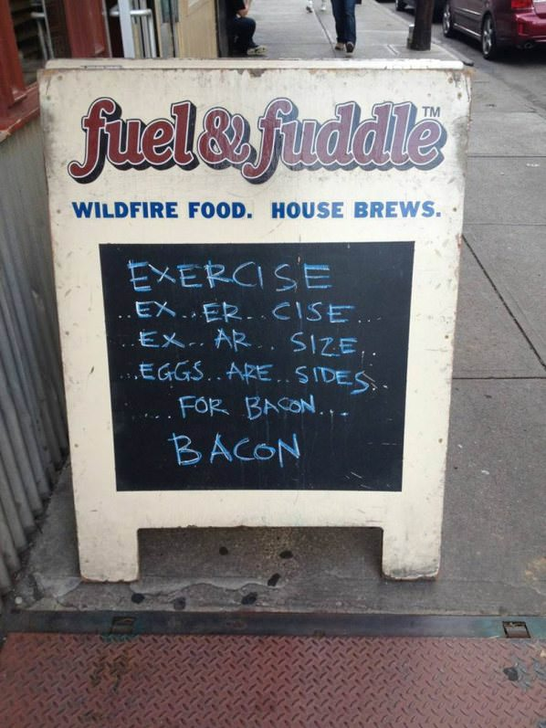 Exercise Food Sign funny picture