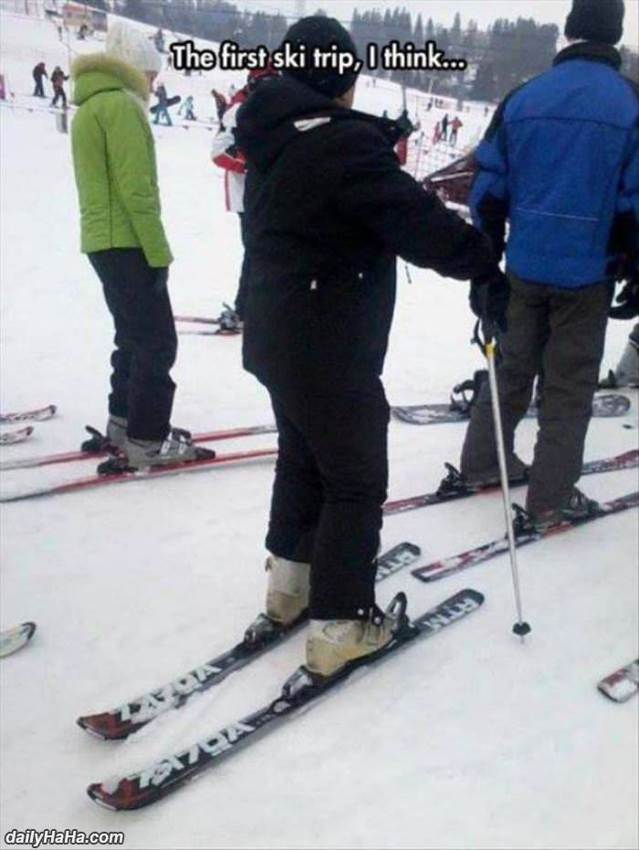 first ski trip funny picture