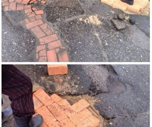 fixing roads in russia funny picture