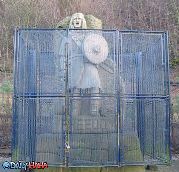 Freedom Statue with Fence