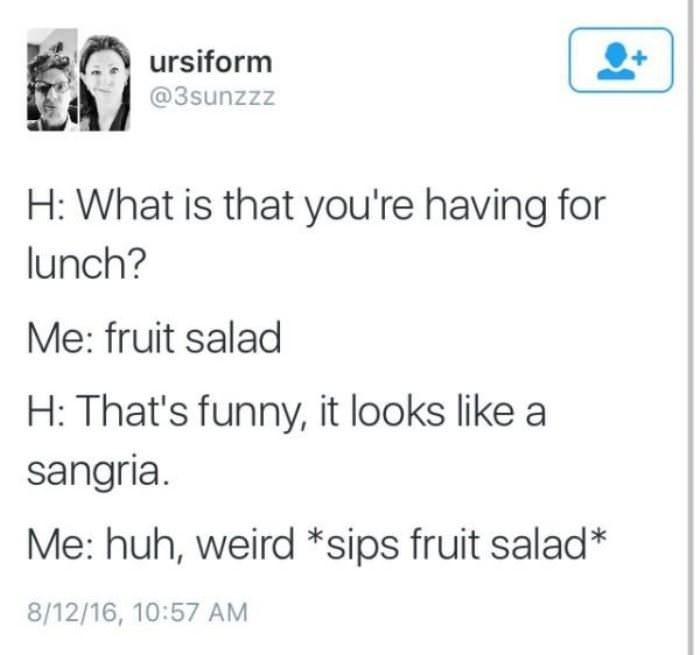 fruit salad for lunch funny picture