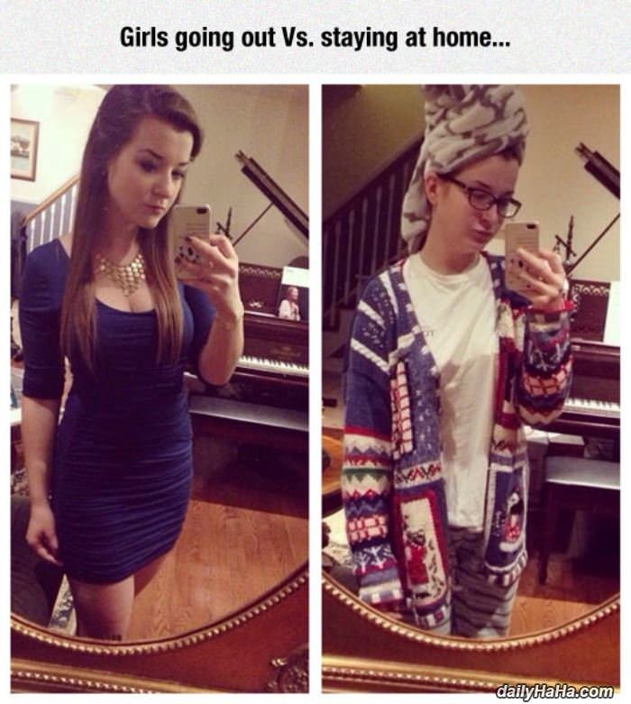 going out vs staying home funny picture