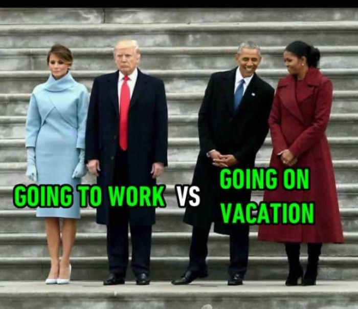 Going To Work Vs On Vacation Funny Picture