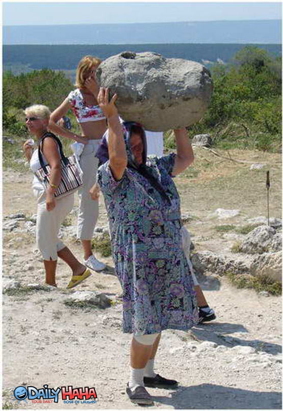 Grandma Carrying Rocks