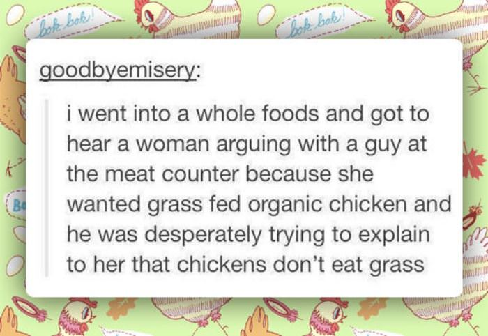 grass fed organic chicken funny picture