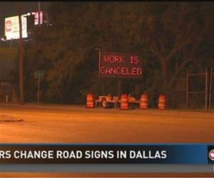 hackers change road sign funny picture