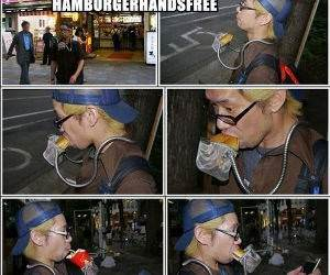 Hands Free Hamburger funny picture