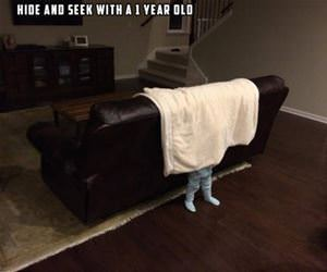 hide and seek with a 1 year old funny picture