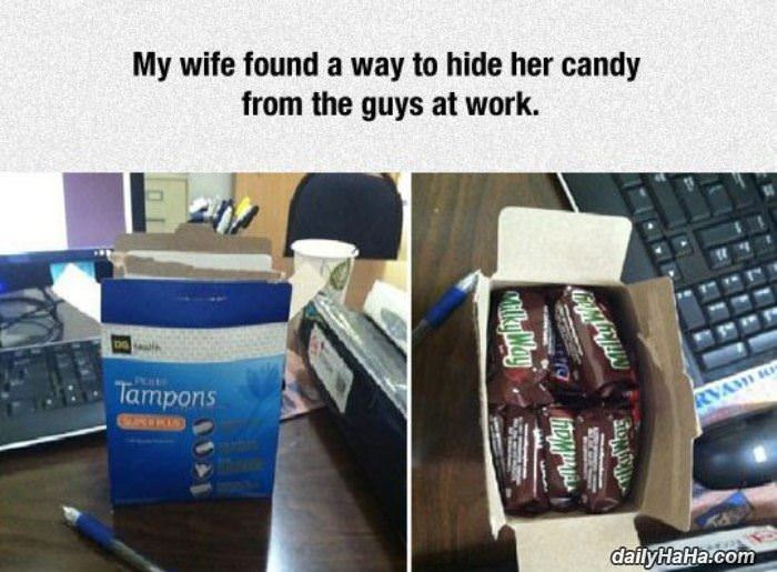 hiding candy at work funny picture