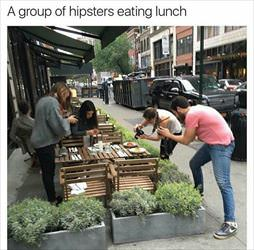 hipsters eating lunch