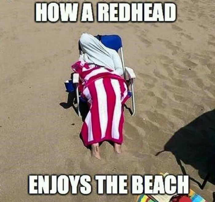 how redheads enjoy the beach funny picture