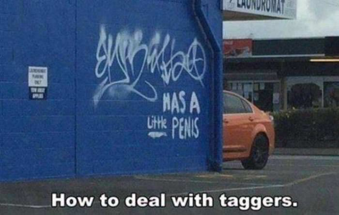 how to deal with taggers funny picture