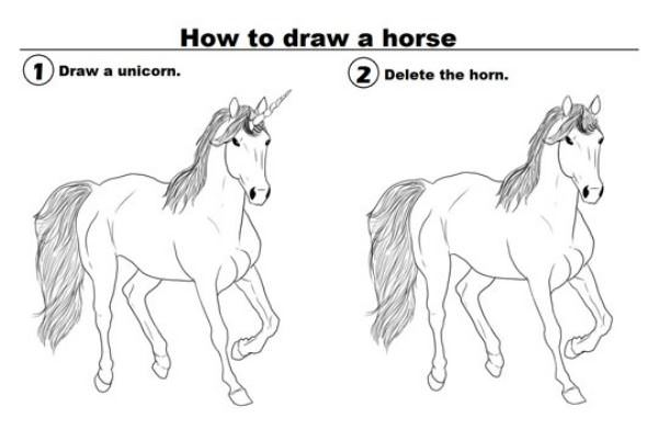 how to draw a horse funny picture