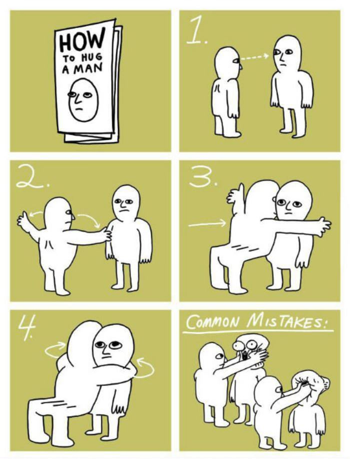 how to hug a man funny picture