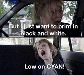 i want to print black and white