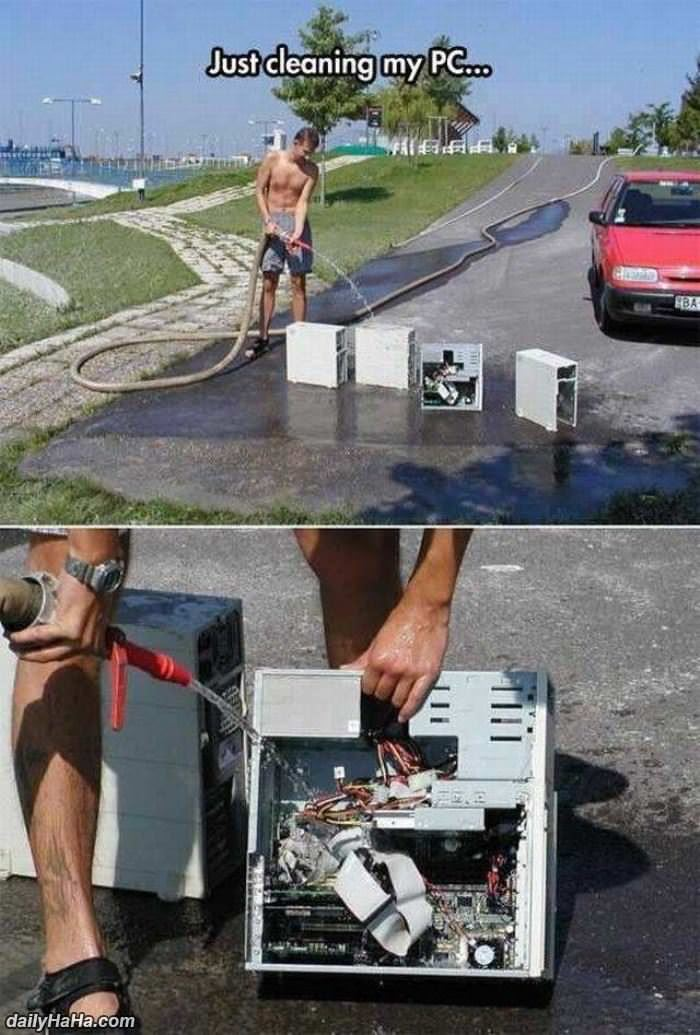 just cleaning my pc funny picture