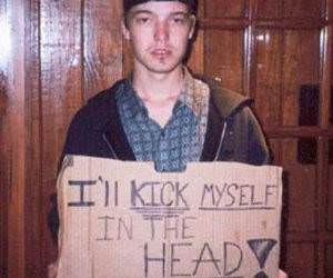Kick myself sign